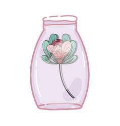 Flower inside jar with nature botany vector