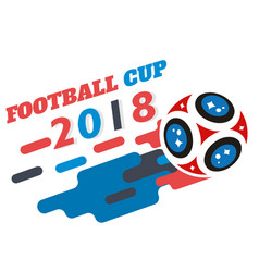football cup 2018 flying socer ball white backgrou vector image