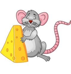 Funny rat with cheese vector