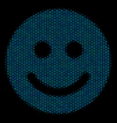 glad smile composition icon of halftone circles vector image
