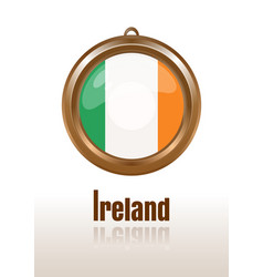 Gold medallion with the flag of ireland vector
