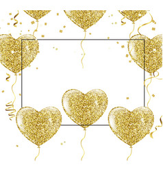 golden balloons in the shape of a heart on a vector image