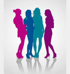 group girlfriends talking to each other vector image