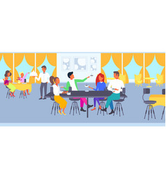Group of students drinking coffee together friends vector