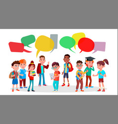 Group pupils school social network vector
