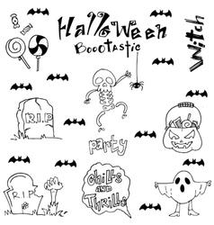 Halloween skull bat zombie tomb in doodle vector