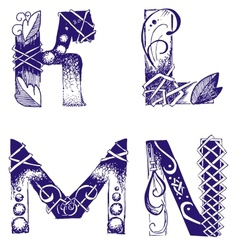 hand-drawn letters K L M N vector image