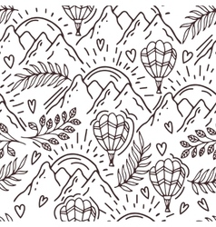 hand drawn pattern with a balloon and mountains vector image