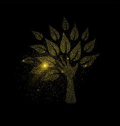 Hand tree concept made gold glitter dust vector