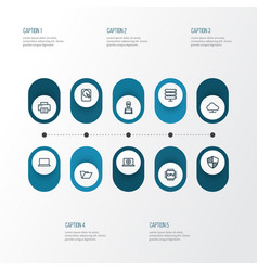 Hardware outline icons set collection of web vector
