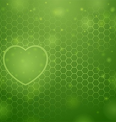 Heart and green background vector