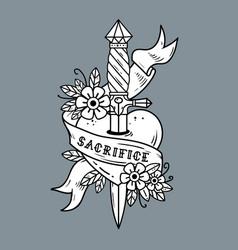 Heart pierced with ancient dagger sacrifice vector