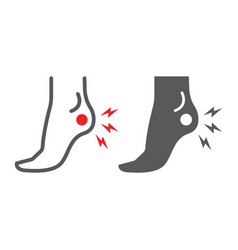 Heel pain line and glyph icon body and painful vector