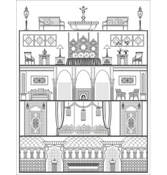 House interior silhouette in oriental style vector