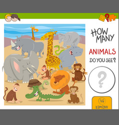 How many animals game for kids vector