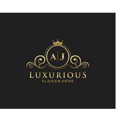 Initial aj letter royal luxury logo template vector
