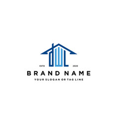 Letter dwl home roof logo design and business card vector