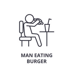 man eating burger line icon outline sign linear vector image