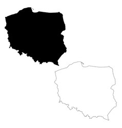 Map poland isolated black on vector