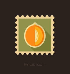 Melon flat stamp fruit vector