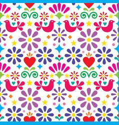 mexican folk art seamless pattern vector image