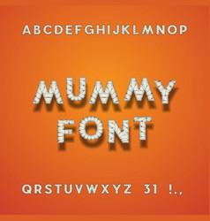 mummy bandage font halloween sans serif typeface vector image