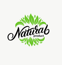 natural hand written lettering logo vector image
