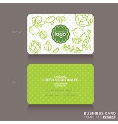 Organic foods shop or vegan cafe business card vector