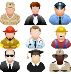 People in uniform icon set vector image