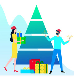 people with presents and gifts near christmas tree vector image