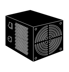 Power supply unit icon in black style isolated on vector