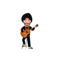 Punjabi singer cartoon character vector