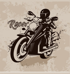 Racer on motorcycle in grunge vector