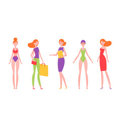 red-haired woman in different styles of clothes vector image