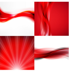 Red posters set vector