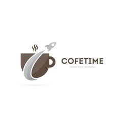 Rocket and coffee logo combination vector