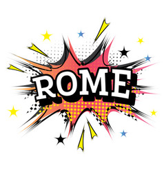 Rome comic text in pop art style vector