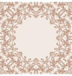 Round floral design frame vector