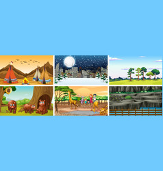 scenes with animals and people in different vector image