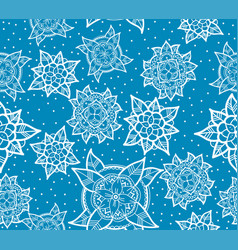 seamless blue flower pattern vector image