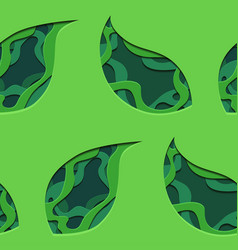 seamless pattern of 3d tree leaf cut out from vector image