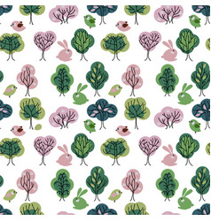 Seamless pattern with spring forest endless vector