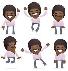 Set disco man character in different poses vector