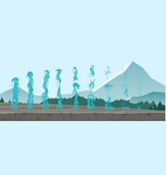 set geysers frozen streams vector image