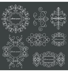 Set logos elegant ornament lines on a black vector