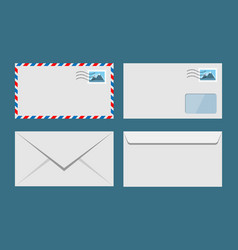 set paper envelopes postal envelope vector image
