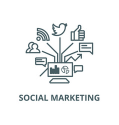 Social marketing line icon linear concept vector