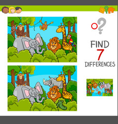 Spot the differences game with wild animals vector