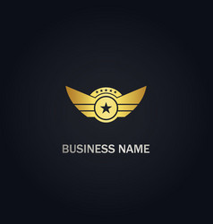 star wing emblem design gold logo vector image