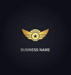 star wing emblem design gold logo vector image